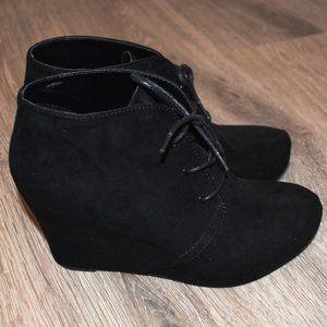 Black Lace-Up Booties 3 Inch Heel